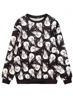 Womens Snowflake Snowman Printed Christmas Sweatshirt Black And White