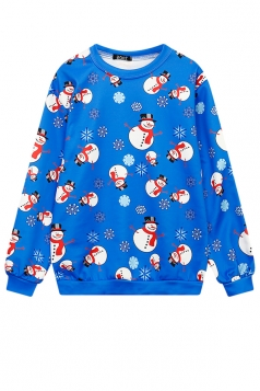 Womens Crew Neck Snowflake Snowman Printed Christmas Sweatshirt Blue