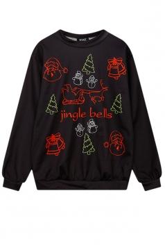 Womens Jingle Bell Reindeer Santa Printed Christmas Sweatshirt Black