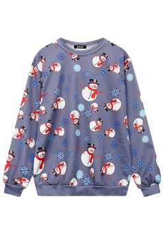 Womens Crew Neck Snowflake Snowman Printed Christmas Sweatshirt Gray