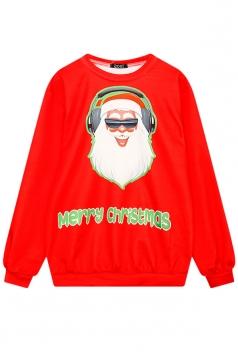 Womens Crew Neck Santa Printed Ugly Christmas Sweatshirt Orange Red