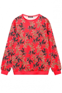 Womens Cute Crew Neck Reindeer Printed Christmas Sweatshirt Red