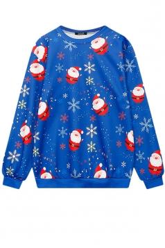 Womens Santa Snowflake Printed Christmas Sweatshirt Sapphire Blue