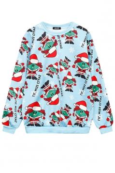 Womens Crew Neck Snowman Santa Printed Christmas Sweatshirt Turquoise
