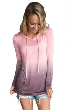 Womens Drawstring Kangaroo Pocket Gradient Color Plain Hoodie Pink