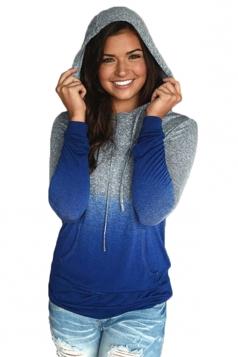 Womens Drawstring Kangaroo Pocket Gradient Color Hoodie Sapphire Blue