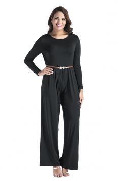 Womens Oversized Crew Neck Open Back Belt Drawstring Jumpsuit Black