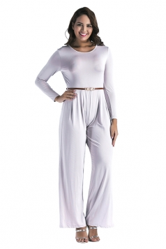 Womens Oversized Crew Neck Open Back Belt Drawstring Jumpsuit Gray