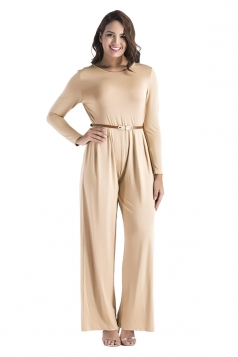 Womens Oversized Crew Neck Open Back Belt Drawstring Jumpsuit Khaki