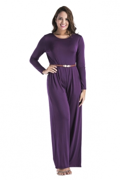 Womens Oversized Crew Neck Open Back Belt Drawstring Jumpsuit Purple