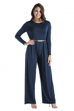 Women Oversized Crew Neck Open Back Belt Drawstring Jumpsuit Navy Blue