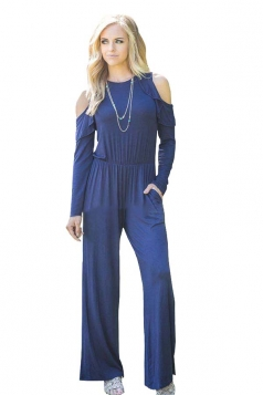 Womens Sexy Cold Shoulder Ruffled Collar Long Sleeve Jumpsuit Blue