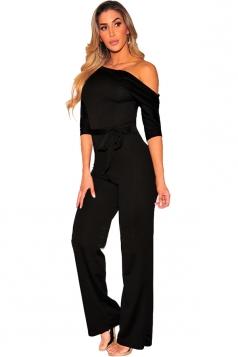 Womens Sexy One Shoulder Waist Bow Half Sleeve Plain Jumpsuit Black