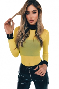 Womens Sexy High Collar Sheer Long Sleeve Plain Bodysuit Yellow