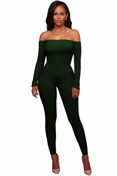 Womens Off Shoulder Lace Up Long Ribbed?Knit?Sweater Jumpsuit Green