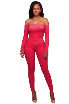 Womens Sexy Off Shoulder Long Ribbed?Knit?Sweater Jumpsuit Rose Red