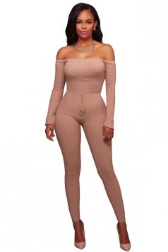 Womens Sexy Off Shoulder Long Sleeve Ribbed?Knit?Sweater Jumpsuit Pink