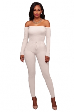 Womens Off Shoulder Lace Up Long Ribbed?Knit?Sweater Jumpsuit White