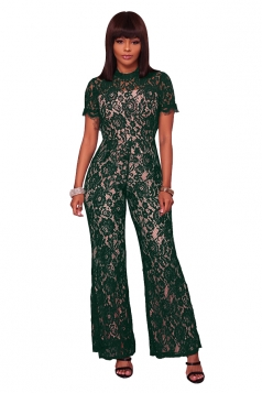 Womens Short Sleeve Backless Mesh Lace Wide Legs Long Jumpsuit Green