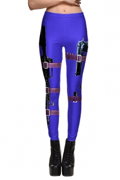Womens High Waisted Skinny Gun Printed Leggings Sapphire Blue