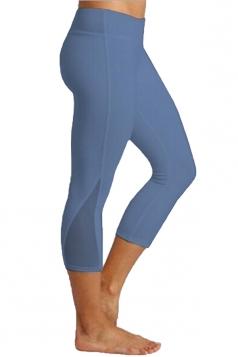 Womens Close-Fitting Elastic Plain High Waisted Leggings Blue
