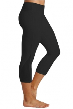 Womens Close-Fitting Elastic Plain High Waisted Leggings Black