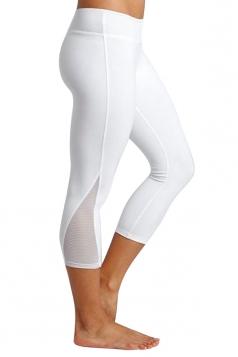 Womens Close-Fitting Elastic Plain High Waisted Leggings White