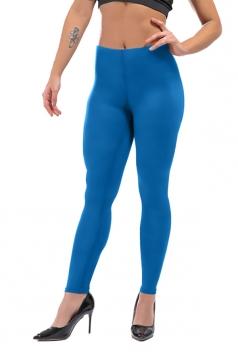 Womens Sexy Skinny Ankle Length Plain High Waisted Leggings Light Blue