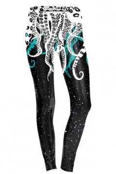 Womens Skinny Ankle Length Octopus Printed Leggings Black And White