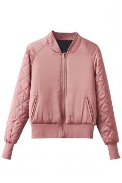 Womens Stand Neck Zipper Pockets Plain Padded Down Jacket Light Pink
