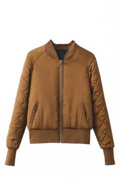 Womens Warm Stand Neck Zipper Pockets Plain Padded Down Jacket Brown