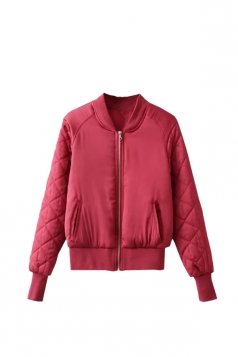 Womens Stand Neck Zipper Pockets Plain Padded Down Jacket Rose Red