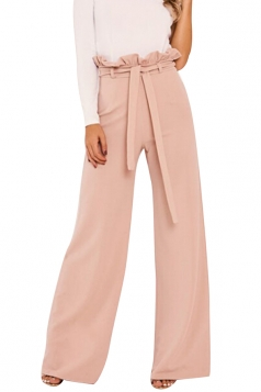 Womens Elegant High Ruffle Waist Belt Wide Legs Leisure Pants Pink