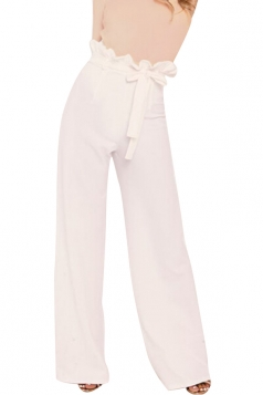 Womens Elegant High Ruffle Waist Belt Wide Legs Leisure Pants White