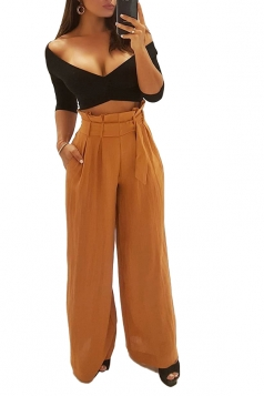 Womens Oversized High Ruffle Waist Belt Wide Legs Leisure Pants Brown
