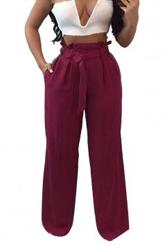 Womens Oversized High Ruffle Waist Belt Wide Legs Leisure Pants Ruby