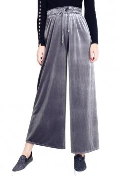 Elastic High Waist Drawstring Wide Legs Capri Leisure Pants Gray