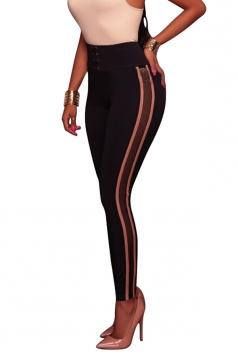 Womens Skinny Stripe Eyelet Lace Up Sports High Waist Leggings Apricot
