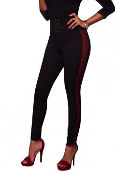 Womens Skinny Stripe Eyelet Lace Up Sports High Waist Leggings Ruby