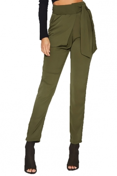 Elegant Bandage High Waist Business Pencil Leisure Pants Army Green
