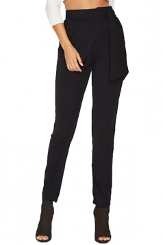 Womens Elegant Bandage High Waist Business Pencil Leisure Pants Black