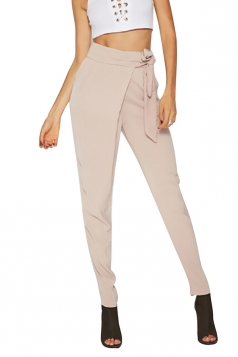 Womens Elegant Bandage High Waist Business Pencil Leisure Pants Khaki