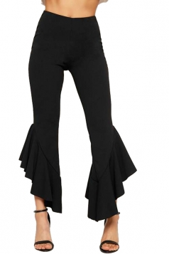 Womens Fashion High Waist Skinny Ruffle Hem Capri Leisure Pants Black