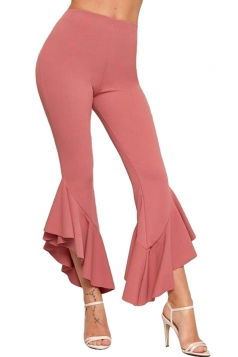 Womens Fashion High Waist Skinny Ruffle Hem Capri Leisure Pants Pink