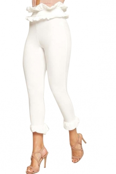 Womens Skinny High Waist Bandage Ruffle Hem Capri Leisure Pants White