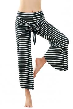 Womens Wide Legs Bandage Cross Stripe Capri Yoga Sports Leggings Black