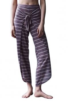 Womens Wide Legs Bandage Stripe Capri Yoga Sports Leggings Purple