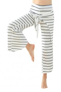 Womens Wide Legs Bandage Cross Stripe Capri Yoga Sports Leggings White