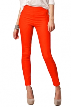 Womens High Waist Skinny Back Zipper Plain Pencil Leisure Pants Orange