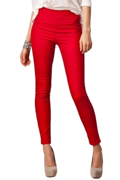 Womens High Waist Skinny Back Zipper Plain Pencil Leisure Pants Red